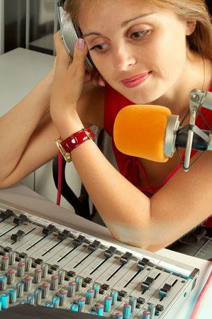 The leader of studio of broadcasting popular FM radio programs Stock Photo