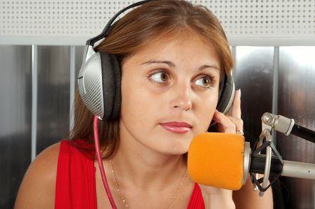 radio activity: The leader of studio of broadcasting popular FM radio programs Stock Photo