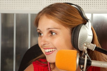 commentator: The leader of studio of broadcasting popular FM radio programs Stock Photo