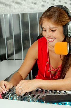 fm: The leader of studio of broadcasting popular FM radio programs Stock Photo