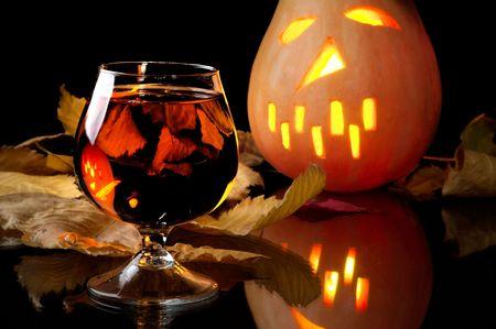 Celebratory wine in day halloween photo