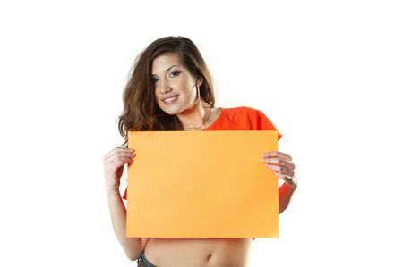 The beautiful girl shows a clean sheet for the text. Stock Photo - 4684694