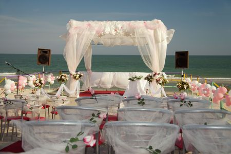 outdoor wedding: The big tent for celebrating ceremony of wedding