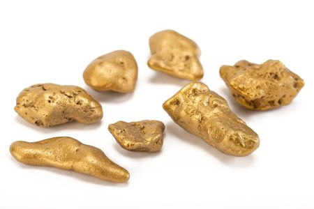 nugget: Nuggets of gold  on a white background.