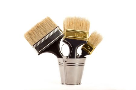 complete set of brushes for painting an interior in the house Stock Photo - 6159849