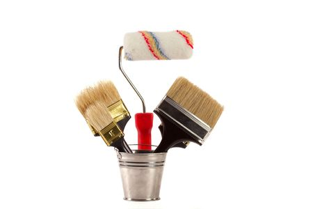 complete set of brushes for painting an interior in the house photo