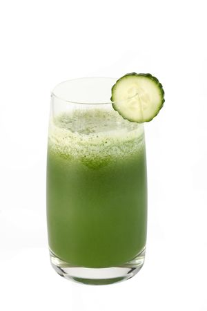 Glass of cucumber juice and slice of a cucumber on a white background photo
