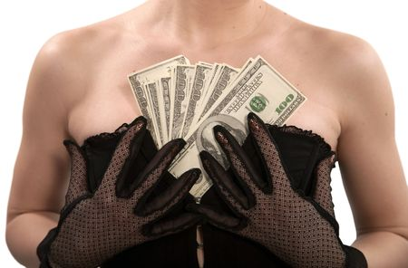 Girl in a black corset counts banknotes of dollars photo