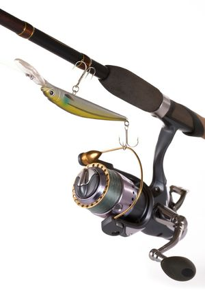 aluminum rod: Modern fishing tackle and the reliable coil.