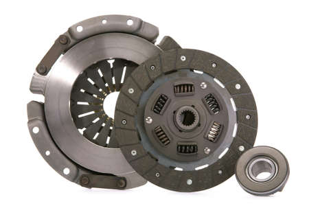 Spare parts of motor vehicle forming clutch plate and disc. Stock Photo