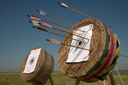 intent: Training in archery on open air an excellent  way for a relaxation. Stock Photo