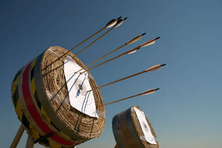 target shooting: Training in archery on open air an excellent  way for a relaxation. Stock Photo