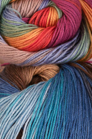 Ball of a color wool yarn for needlework photo