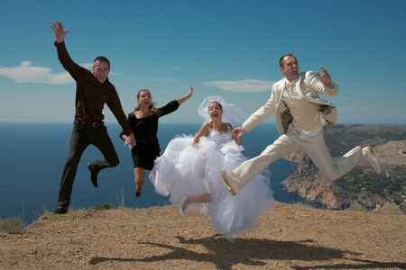 Happy married couple. Photosession on open air in a landscape of mountains of Crimea. photo