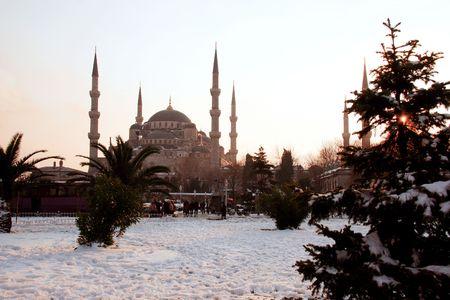 byzantium: Sultanahmet mosque in Istanbul, TurkeySultanahmet mosque sunset.