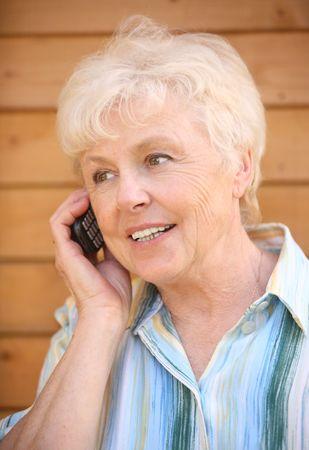 speaks: The elderly woman speaks by phone