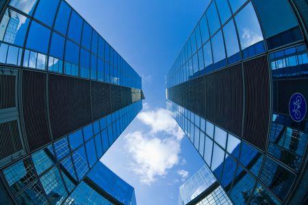 foreshortening:  Modern building in a foreshortening Stock Photo
