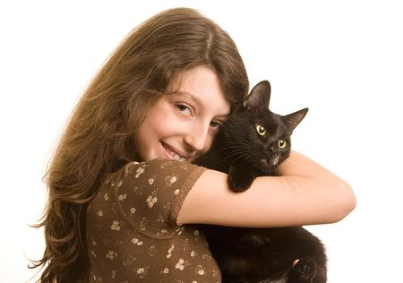 Girl with a black cat on a white background photo