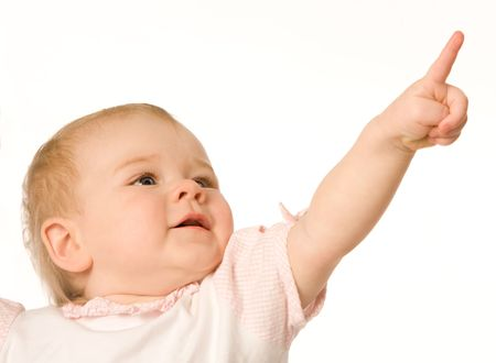 nice girl: Small nice girl shows a finger upwards on a white background Stock Photo