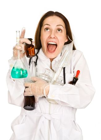 awkwardness: Young woman-laboratorian holds set of subjects in hands  Stock Photo
