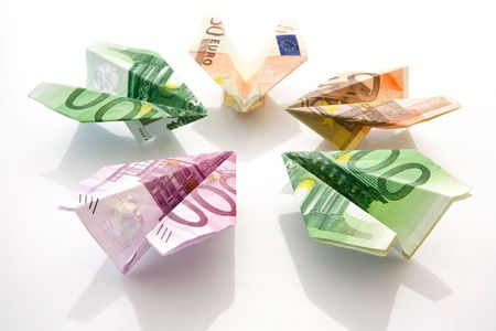euro banknotes: The planes made of  euro