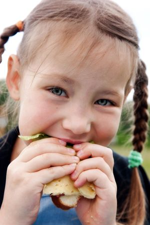 Little girl eats a sandwich on fresh air photo