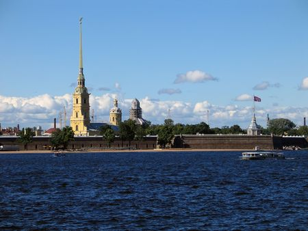 Day view of the spire of Peter and Paul Cathedral (Fort, St.Petersburg, Russia) photo