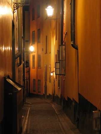 Night view of street in Old Town. (Stockholm, Sweden) photo