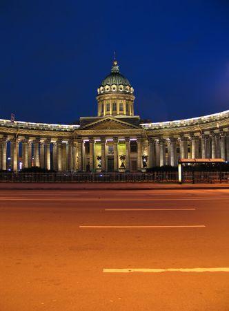 kazan: Night view of Kazan Cathedral in St.Petersburg, Russia.