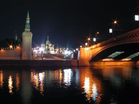 Night view of Moscow Kremlin, bridge and Saint Basils Cathedral. Moscow, Russia. photo