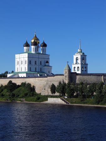 Summer view of Trinity Cathedral and Bell-tower in Pskov Kremlin. (Pskov, Russia). photo