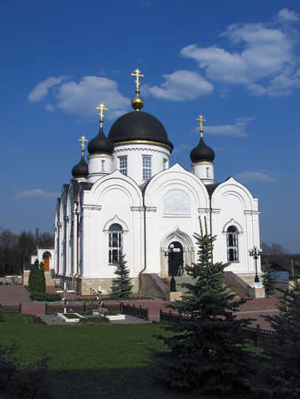 pry: View of The Trinity of Revive Cathedral in The Saint Tihon Transfiguration nunnery. (Zadonsk, Lipetsk region, Russia)