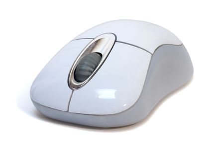 An optical cordless wheelmouse isolated on a white background