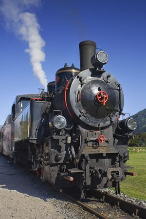 A steamtrain in an Austrian landscape Stock Photo