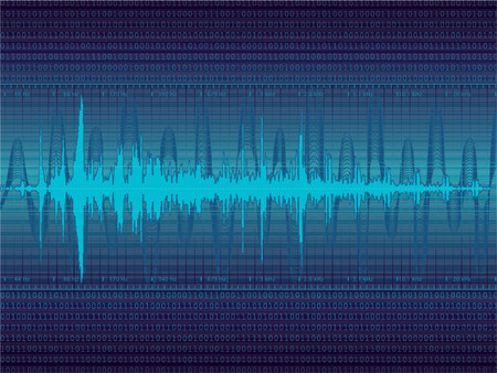 Audio Waveform vector background (only linear gradients)