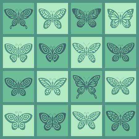 Butterflies icon set  Vector