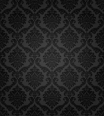 black damask: Seamless damask pattern