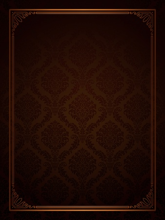 Seamless damask with ornamental frame  Illustration