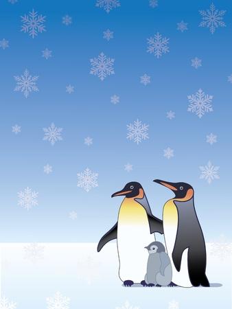 Penguin family in the snow  Illustration