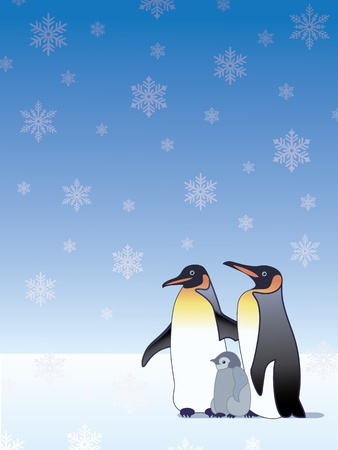 Penguin family in the snow  Illustration