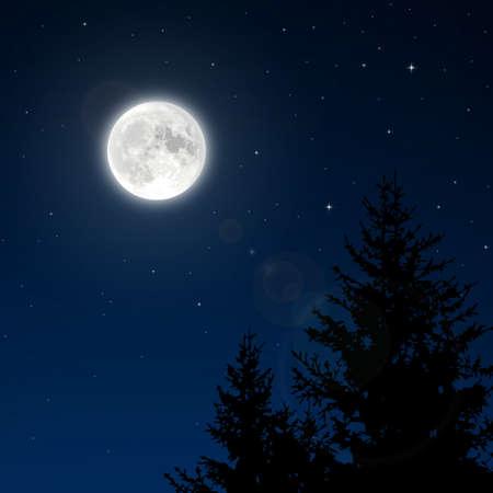 noche y luna: Luna Llena con la llamarada de la lente