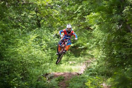 SEVASTOPOL, UKRAINE - JUNE 8:  Racer Vasiliy Sokolovskiy on the competition of the mountain bike Pentagon race 2013 on June 8, 2013 in Sevastopol, Ukraine