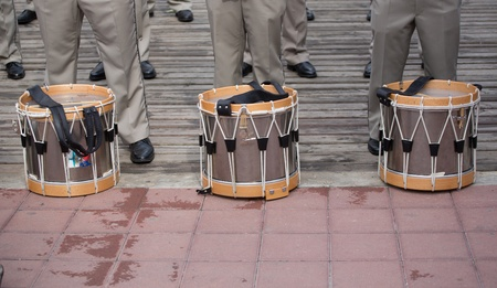 SEVASTOPOL, UKRAINE - JUNE 14. Three France orchestra drums on the ground on 'Sevastopol Military Tattoo Festival 2013' on june 14, 2013 in Sevastopol, Ukraine