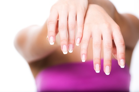 Woman hands with french manicure photo