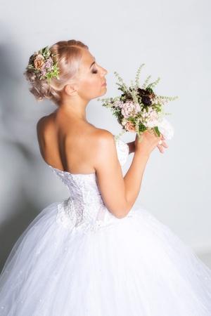 Beautiful bride portrait in studio photo