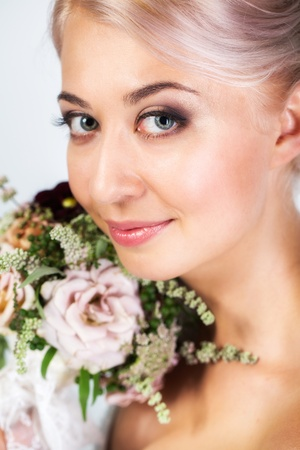 Beautiful bride portrait in studio photo
