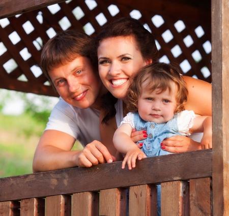 bower: Happy family photo in bower Stock Photo