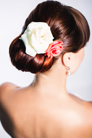 Bride hairstyle rear view photo