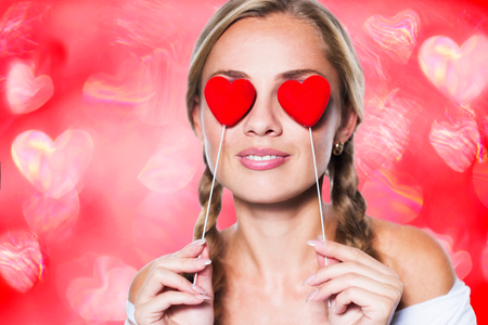 Blonde girl with red hearts photo