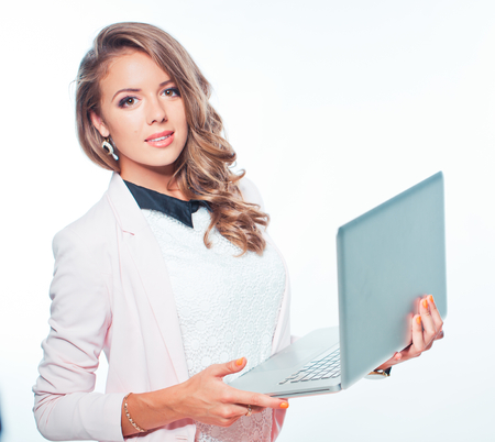 Young woman portrait with laptop in hands photo